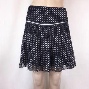 Elie Tahari Silk Black & White Polka Dot Skirt